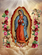Our Lady Of Guadalupe angels flower banner 1
